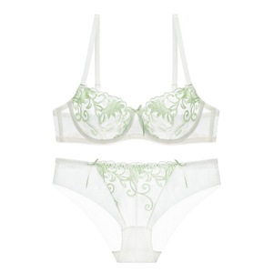 Image 3 - Transparent underwear women set see through bra set sexy lace lingerie embroidery brasier 3/4 cup Hollow out brassiere panties