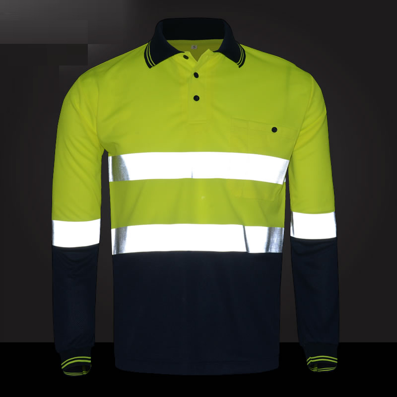 Reflective safety polo shirt yellow navy two tone working t-shirt long sleeves with heated bright silver reflective straps plus size keyhole front two tone tunic t shirt