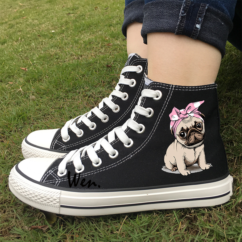 Wen Athletic Sneakers Black White Colors Woman Design Cute Pet Pug Dog Pink Bow With Headband
