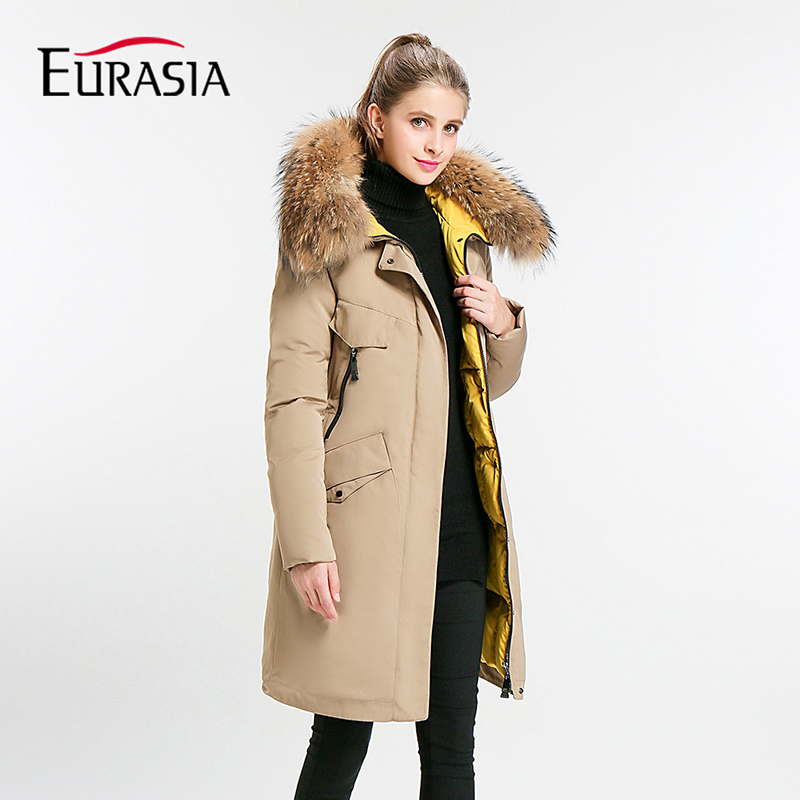 Eurasia New Full Solid 2019 Women's Mid-long Winter Jacket Stand Collar Hood Design Oversize Real Fur Thick Coat Parka Y170027