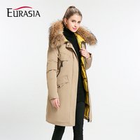 Eurasia New Full Solid 2019 Women's Mid long Winter Jacket Stand Collar Hood Design Oversize Real fur Thick Coat Parka Y170027