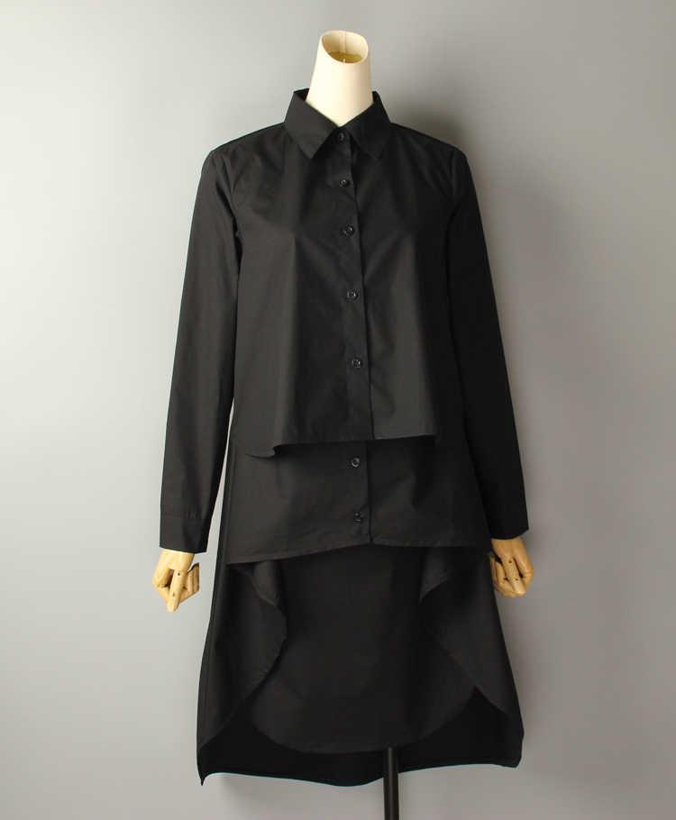 [EWQ] 2019 novo verão Turn-down Collar manga comprida Assimétrica tamanho Grande de alta qualidade camisa top solto tendência mulheres blusa QH324