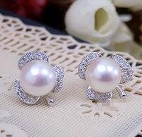 9 10MM genuine fresh water pearl earrings