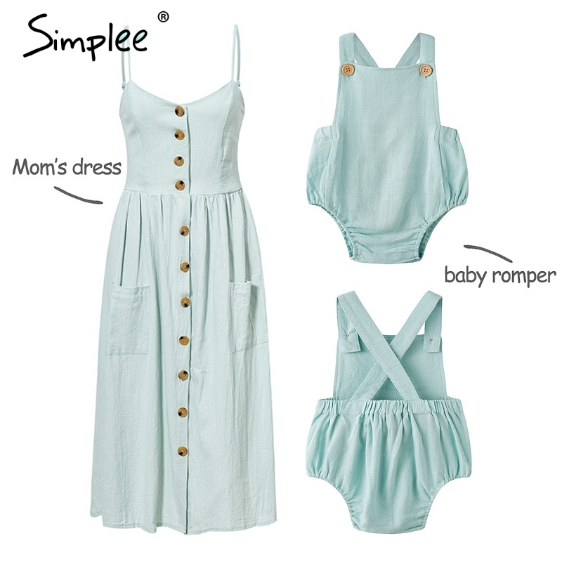 Mother and kids casual button dress Solid matching mom baby family clothes outfits beach dress Cute baby romper mom summer dress(China)