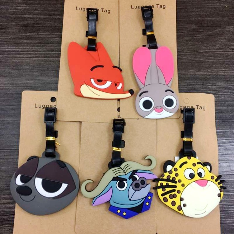 Travel Accessories Luggage Tags Fox Rabbit Zootopia Cartoon Silica Gel Suitcase ID Address Holder Baggage Boarding Tag