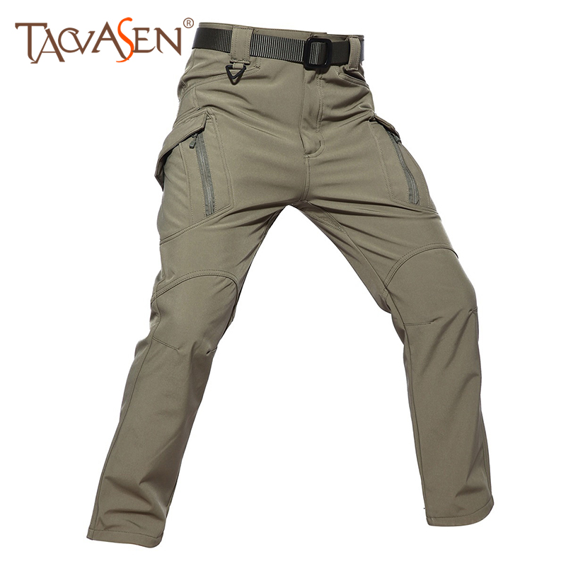 TACVASEN Tactical Softshell Pants Men Waterproof Pants Military Army Trousers Outdoor Trekking Trousers Fleece Hunting Pants