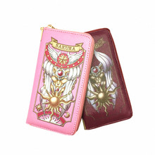 2016 New Arrival Cosplay Anime Card Captor Sakura Fashion Women Wallets Female Cards Holders Cartoon Long Wallets Withe Zipper