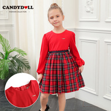 CANDYDOLL  New fall girls long sleeve dress cotton supersoft college style sub-dress sweet and lovely childrens