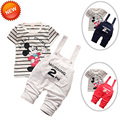 Hot!New Arrival 2016 Baby Tracksuit Cotton Short Sleeve T-shirt High Quality Jeans Roupas De Bebes Blue/Grey/Red Color Available