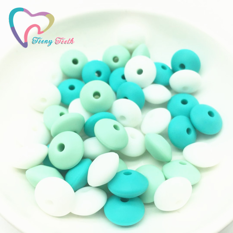 Teeny Teeth 50 PCS Green Shadows Silicone Lentil Beads Baby Chewable Non Toxic BPA Free Abacus Silicone Teething Lentil Beads