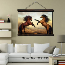 Jumping Horses HD Print Scroll Paintings Wall Art Printed Hanging Framed Canvas Painting Modern Home Decoration
