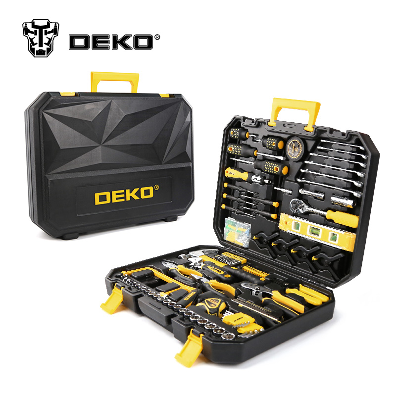 цены  DEKOPRO 168 Pcs Hand Tool Set General Household Hand Tool Kit with Plastic Toolbox Storage Case Socket Wrench Screwdriver Knife
