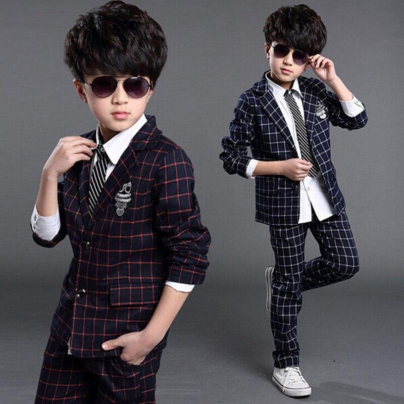 2018 Boys Blazer Jacket Wedding Boys Suits England Style Plaid 6-14T Gentleman Sets Boys Suit Jackets Child Formal Party Tuxedos