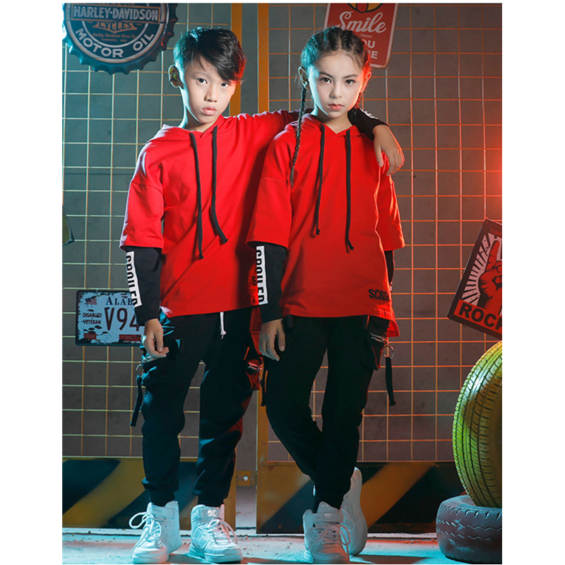 Girls Jazz Dance Street Dance Children Hip Hop Costume Sets Boys Loose Long Sleeve Stage Clothes Christmas Party Clothing