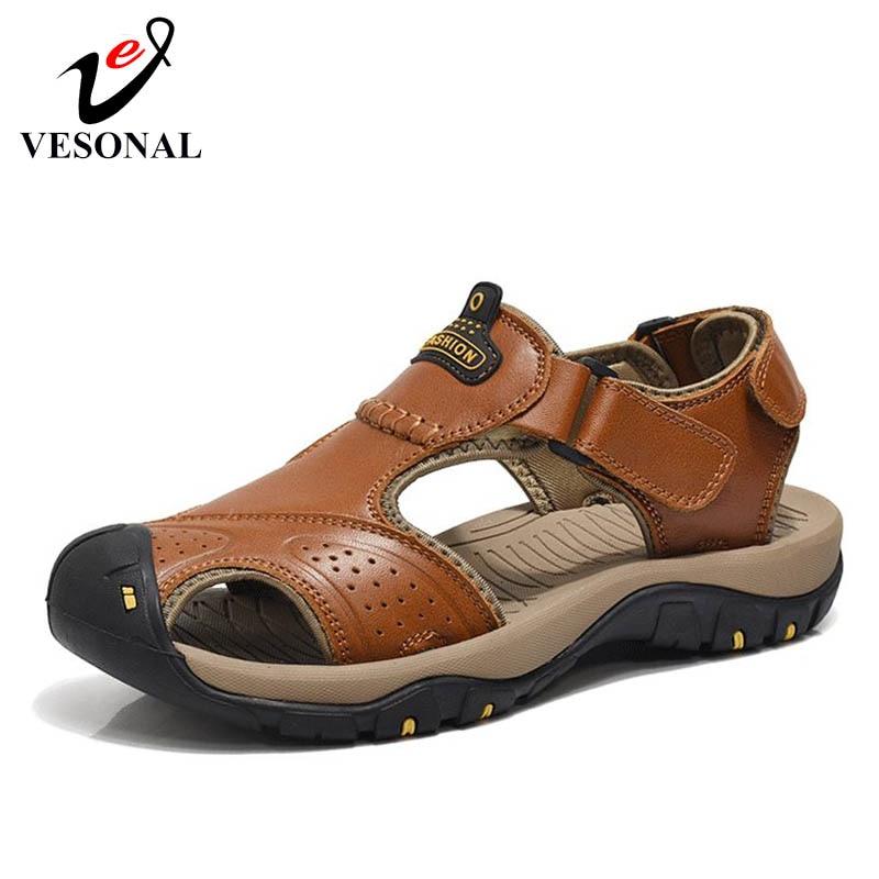 VESONAL Men Sandals Door-Shoes Male Walking Water Beach Genuine-Leather Classic Summer