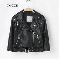 Autumn Spring Leather Jacket For Girls Boys Leather Jacket Advanced PU Imitation Leather Coat Trim Fit