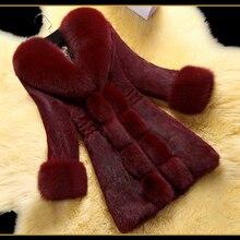 High-end Winter Women Fur Coat Luxury Rabbit Fox Faux Fur Jacket Long Sleeve Warm Female Outwear Coat Top With Big Collar XXXL