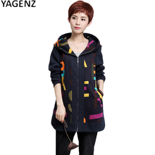 4XL Winter Casual Windbreaker Coat Female 2017 Spring New Letter Pringting Loose Large Size Middle-aged Women Mother Hooded Coat
