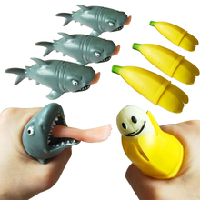 Funny Mochi Squishy Cannibal Shark Squeeze Toys Antistress Banana Prank Toy Children,Kids,Adult Venting Educational Gift