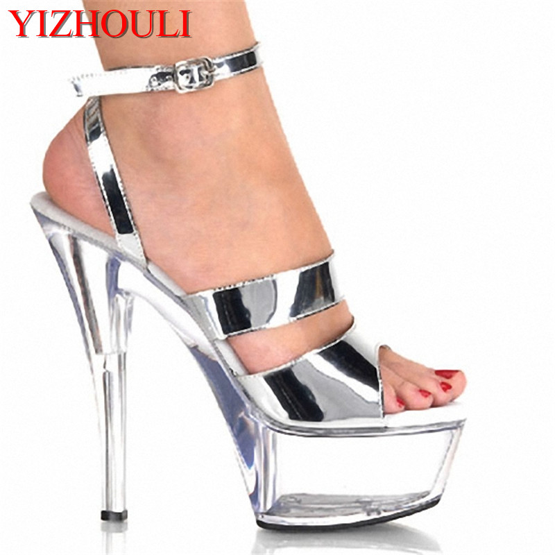 6 Inch Platform Heels Fashion 15CM High-Heeled Sandals Transparent Crystal Shoes, Dancer Shoes ,Sexy Party Heels 15cm sexy high heeled shoes crystal sandals sweet rhinestone sexy shoes bride wedding shoes heels platform stripper shoes