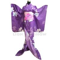 Women Japanese Kimono Traditional Floral Furisode Long Kimono Cosplay Dress Costume outfit