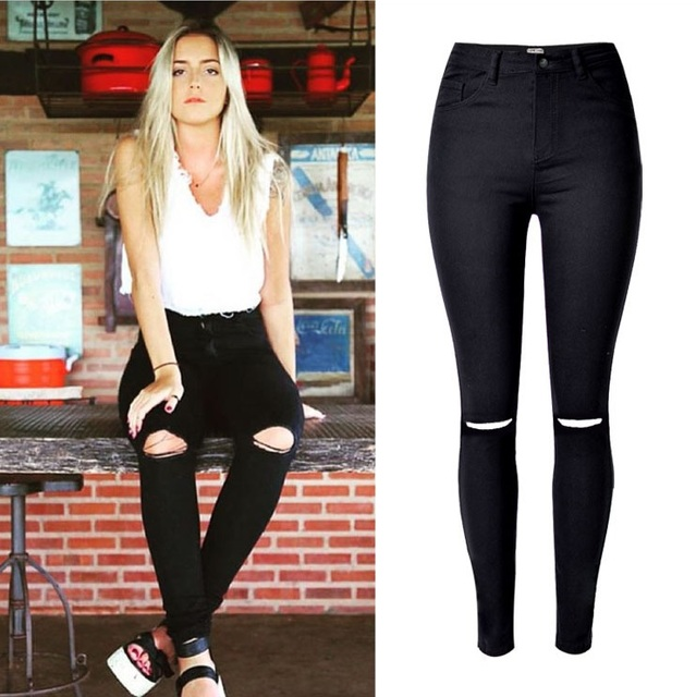 61a31669e9ce Fashion Ladies Army Green/White/Black Ripped Jeans Women High Waist Jeans  Femme Stretch Noir slim Jean taille haute Denim Pants