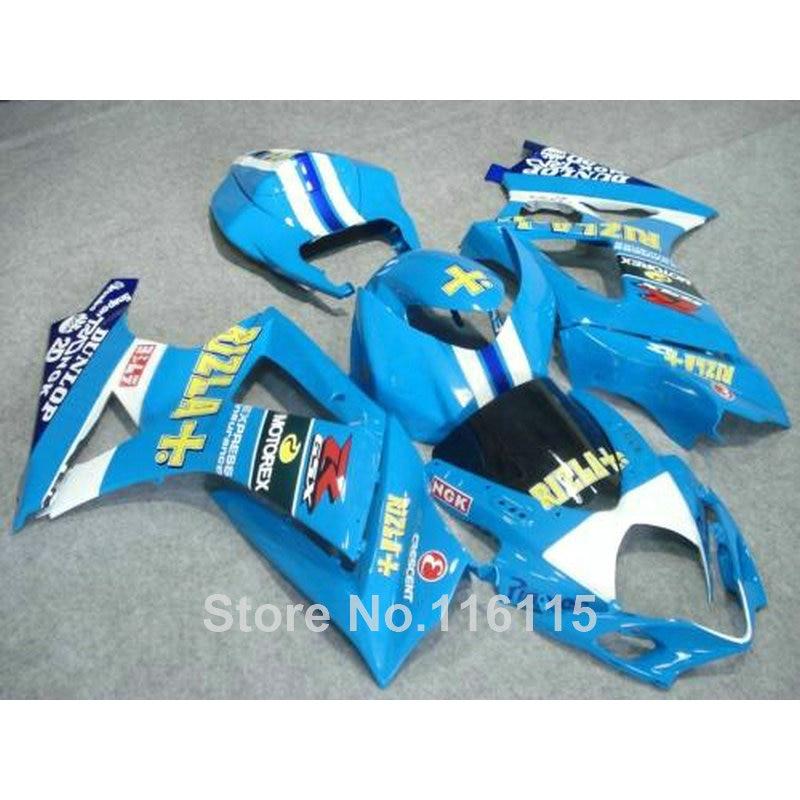 Free customize fairing kit for SUZUKI GSXR 1000 K7 K8 2007 2008 fairings 07 08 GSXR1000 blue RIZLA+ ABS bodykits JS43 motorcycle fairing kit for suzuki gsxr1000 07 08 gsxr 1000 k7 2007 2008 gsxr1000 abs white blue fairings set 7gifts ss01