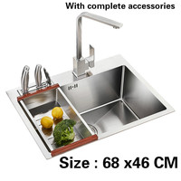 Free Shipping Handmade Ordinary Food Grade 304 Stainless Steel Kitchen Sink Single Slot 3 Mm Thick