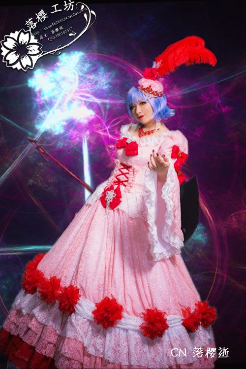 The Touhou Project Remilia Scarlet Cosplay Costume Halloween Luxury Party Dress Pink Long Christmas Dress Custom made