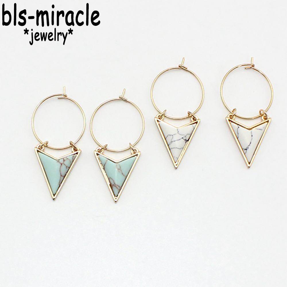 Newest Fashion Jewelry Accessories Mix Color Stone Triangle Dangle Earring Best Gift For Lovers Wholesale E279