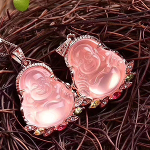 Image 4 - Dropshipping Natural Pink Crystal Laughing Buddha Pendant Mosaic Clavicle Chain Necklace Simple Female models Fashion Jewelry