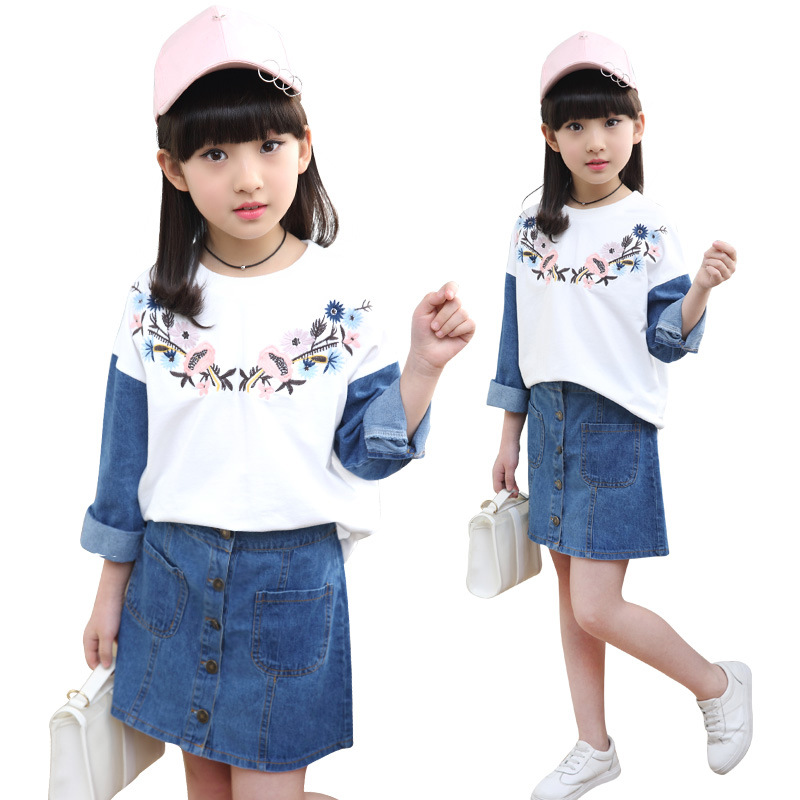Children girls clothing set 2018 spring teenage girls T shirt + jeans skirt suit school kids clothes tracksuit for girls clothes