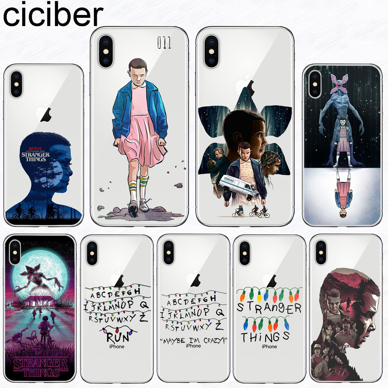 ciciber <font><b>Phone</b></font> <font><b>Case</b></font> for <font><b>iPhone</b></font> 11 Pro Max Soft Silicone TPU Cover For <font><b>Iphone</b></font> <font><b>XR</b></font> 8 7 6 S Plus 5S SE X XS MAX <font><b>Stranger</b></font> <font><b>Things</b></font> Coque image