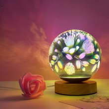 Wood colorful 3d Light magic ball projection  3d Lamp USB power supply bedroom atmosphere night light sky Table Lamp