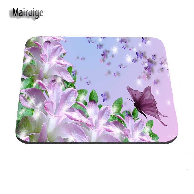 Beautiful Butterflies And Flowers Soft For Computers Rectangular Mousepad Desktop Pad Mouse Mat For Optal