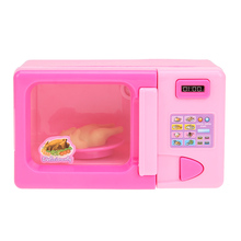 Children Pretend Role Play House Toy Mini Cute Pink Microwave Oven Toy Early Development and Education