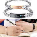 316L Stainless Steel True Love Couple lovers' Bracelet & bangle with Blue / pink Crystal 718 one pcs