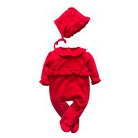 Newborn Baby Girls Rompers 2018 New Autumn Solid Princess Pullovers Detachable Hat Rompers 0 9 Month