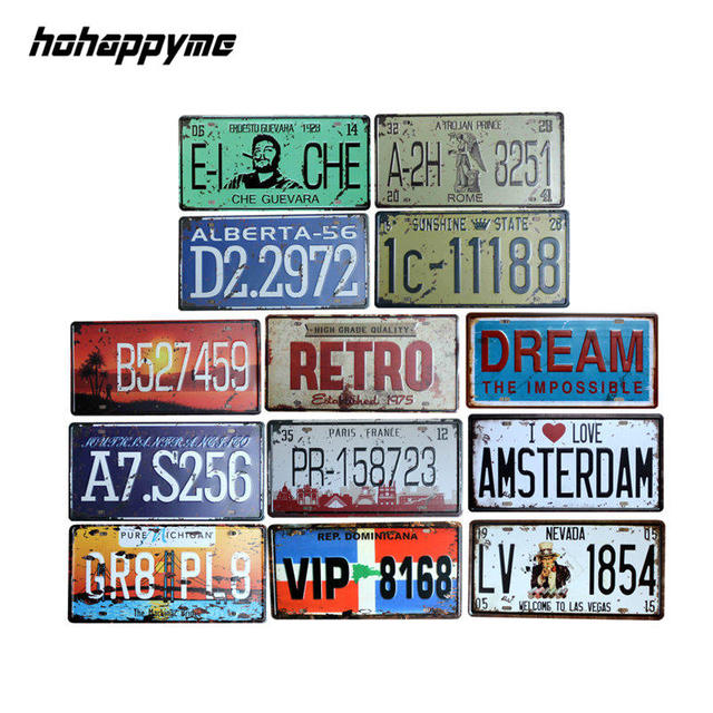 Hohyme France Car License Plate Number Plaque Metal Vintage Tin Sign Bar Decoration Poster Home Decor 15x30cm