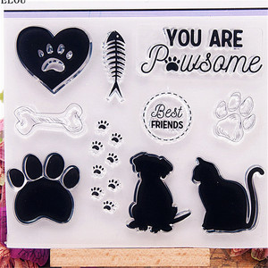 PANFELOU cat paw prints Transparent Clear Silicone Stamp/Seal for DIY scrapbooking/photo album Decorative clear stamp sheets
