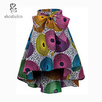 Shenbolen African Clothing Women Skirt Traditional clothing Ankara Print Cotton Dashiki Skirt