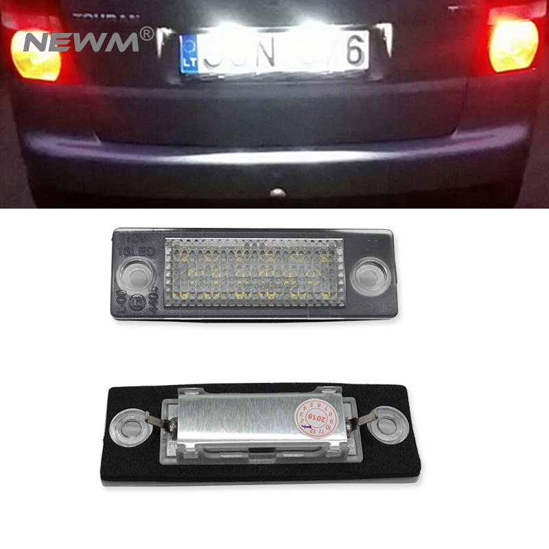 Auto part car tail license light for Touran/Passat B6 Combi/Variant/Transporter LED Number License Plate Light 2X18SMD No Error 2x error free led license plate light for volkswagen vw passat 5d passat r36 08