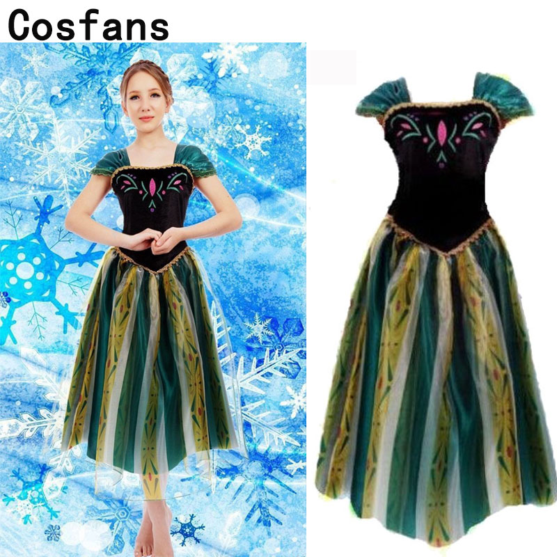 New Women Elsa&Anna Birthday Fashion Ice Snow Queen Party Costume Cosplay Dress Adult Girls Lady Cinderella Snow White Princess