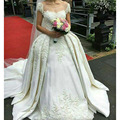 New Arrival Ivory Cap Beading Sleeves Appliques Ball Gown Wedding Dresses with Pleats Detachable Train Satin Bridal Gowns