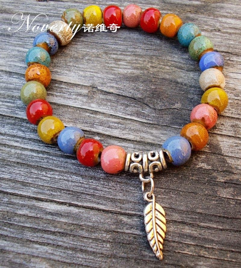 2018 New Fashion Handmade Colorful Ceramic Beads Bracelet Porcelain Ethnic Leaf Charm Bracelets DIY Jewelry Gifts