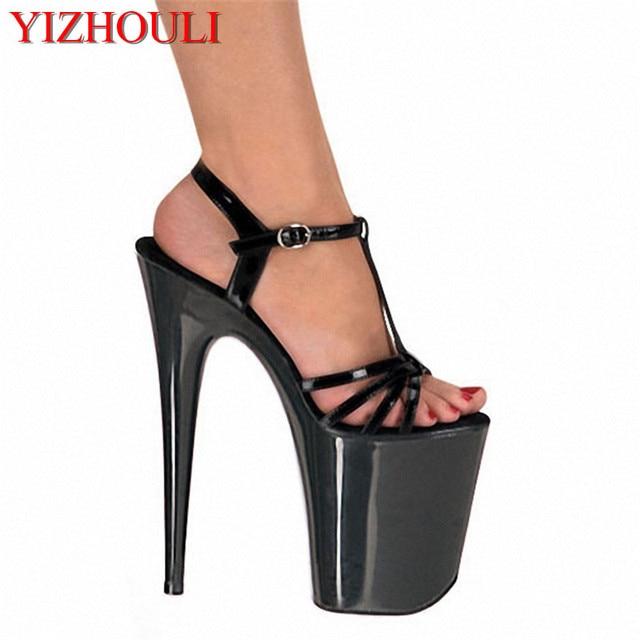 8b16ad41fa0 Fashion 8 inch platform black tee with 20 cm high heels sexy nightclubs  high heels sandals women s toes sandals