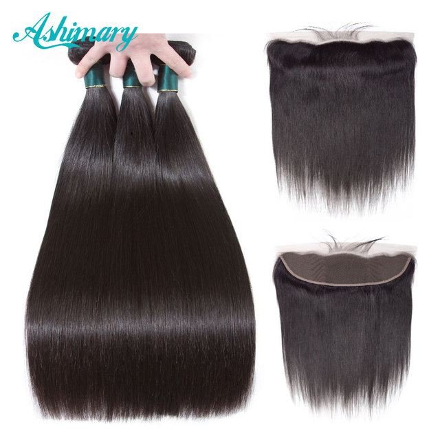 Ashimary מלזי ישר שיער 13x4 תחרה פרונטאלית סגר עם חבילות רמי שיער טבעי חבילות עם תחרה פרונטאלית משלוח חלק