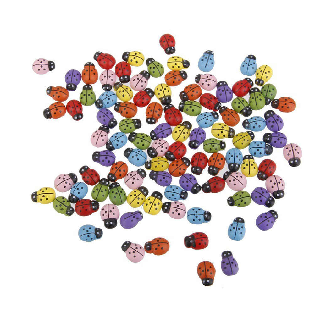 100pcs Mini Ladybugs Shaped Stickers Miniature Ornament DIY Kit for Fairy Garden Dollhouse Plant Decor (Mixed Color)