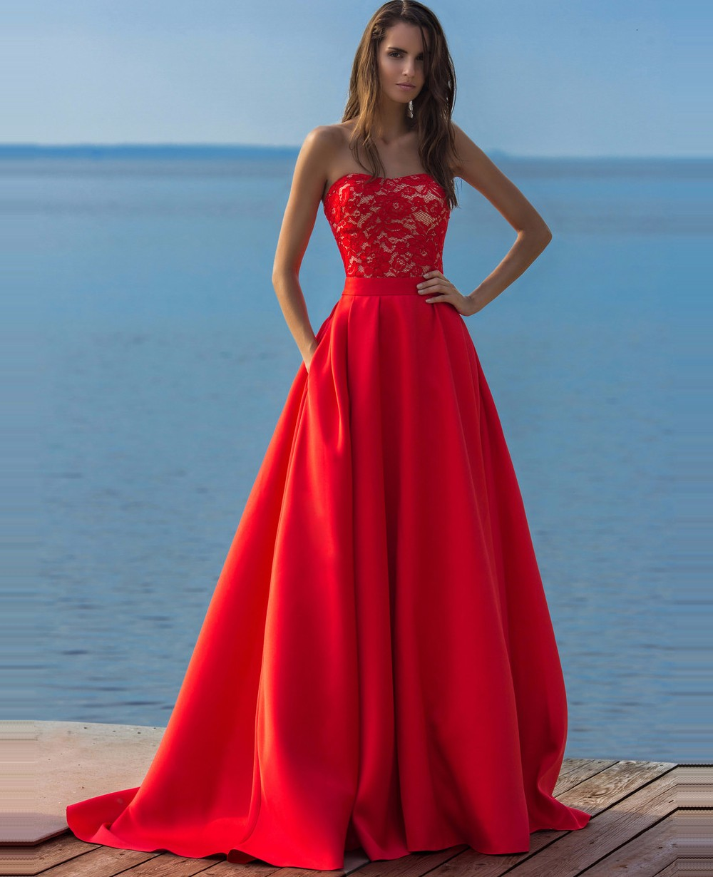 2017 Sexy Red Long Two Pieces Lace Prom Dress with Detachable Train...