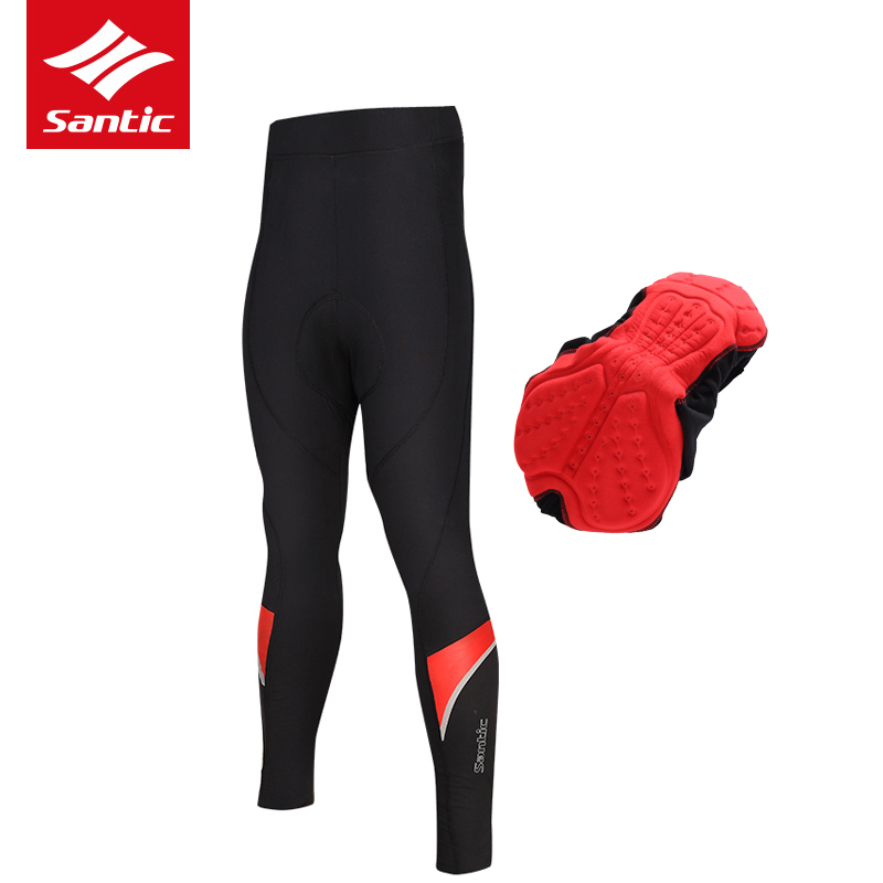 Santic Cycling Pants With Pad Men Winter Long Thermal Warm MTB Bicycle Pants Windproof Pro Padded Bike Trousers Tights Ciclismo